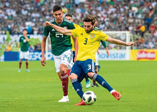 Graeme Shinnie made his first start for Scotland against Mexico.