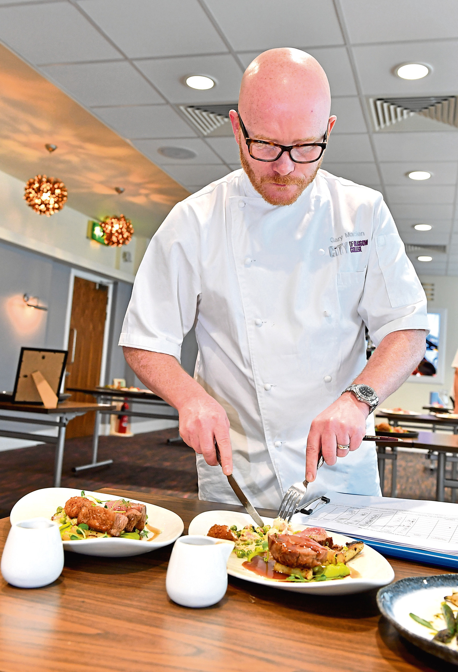 One of the judges, Gary Maclean, at work.