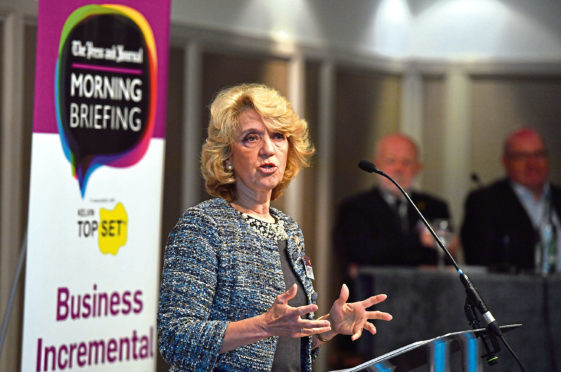 Press and Journal Morning Briefing (business breakfast) at the Marcliffe Hotel ;  Pictured - Panellist, Jeanette Forbes, CEO, PCL Group, speaking.       Picture by Kami Thomson  /