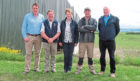 SBA vice-chairman David Barron, host farmers Robbie, Barbara and James Milne, and SBA chairman Neil McCorkindale