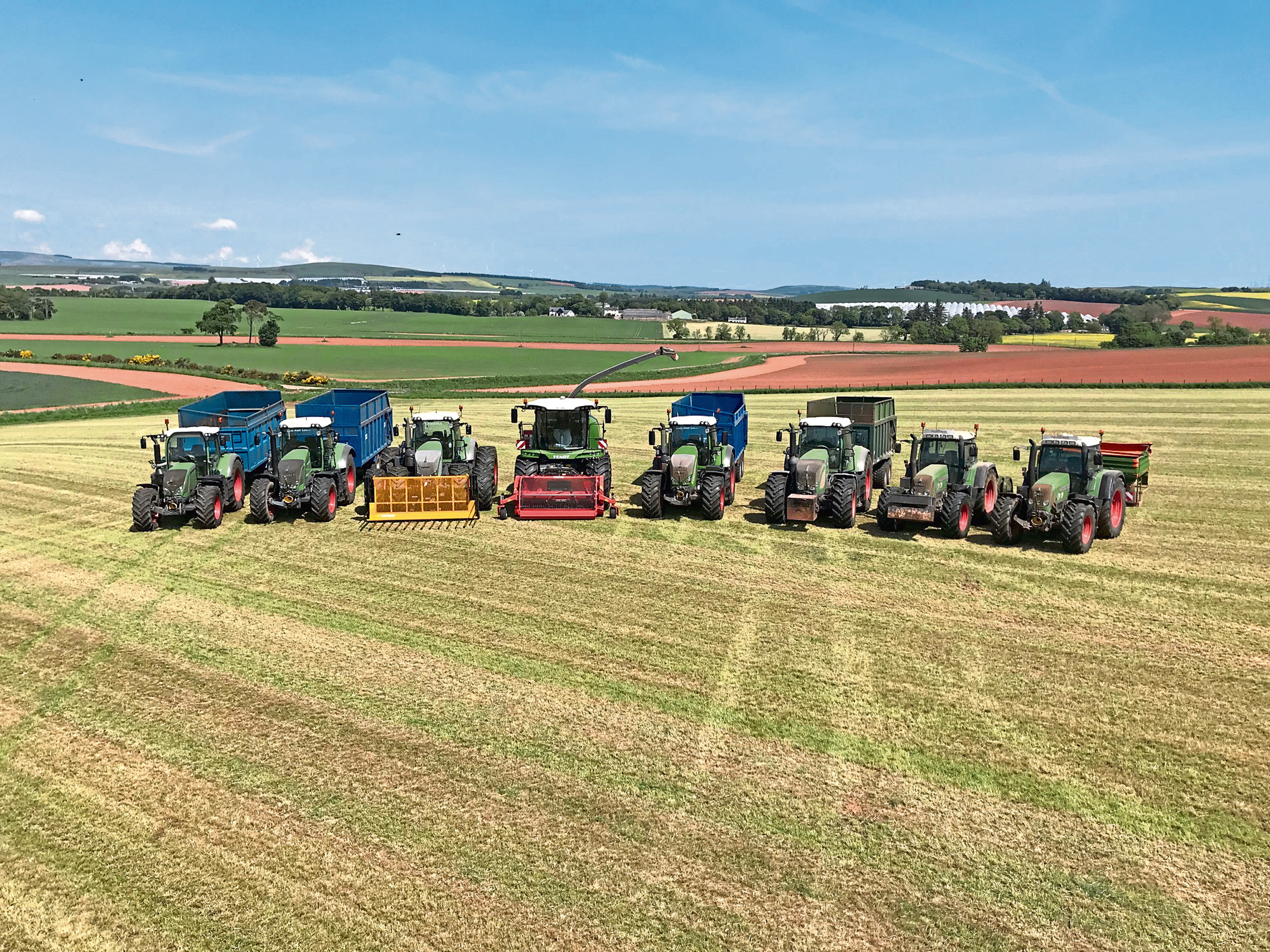 Ryan West sent in this picture of a line-up of all the Fendts after first cut silage.