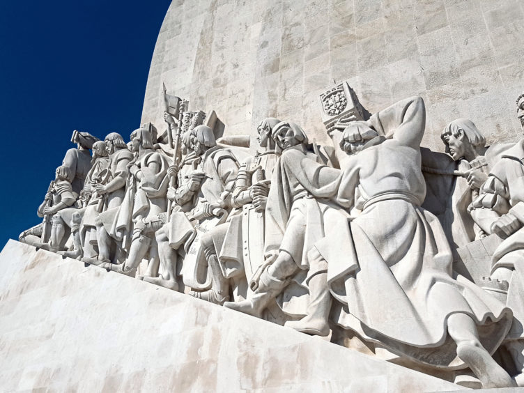 A detail from the Padrao dos Descobrimentos monument in Belem near Lisbon