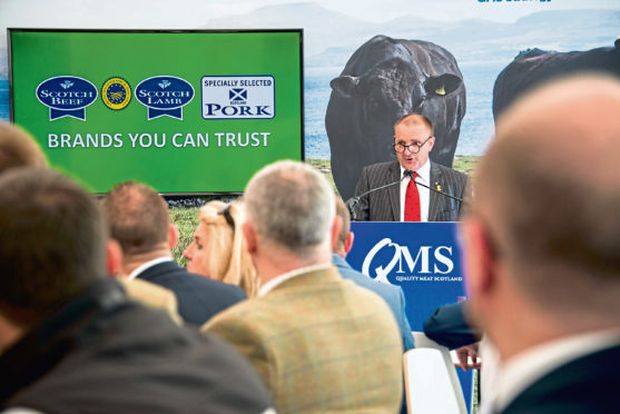 Jim McLaren addressing politicians and farming leaders at the Royal Highland Show