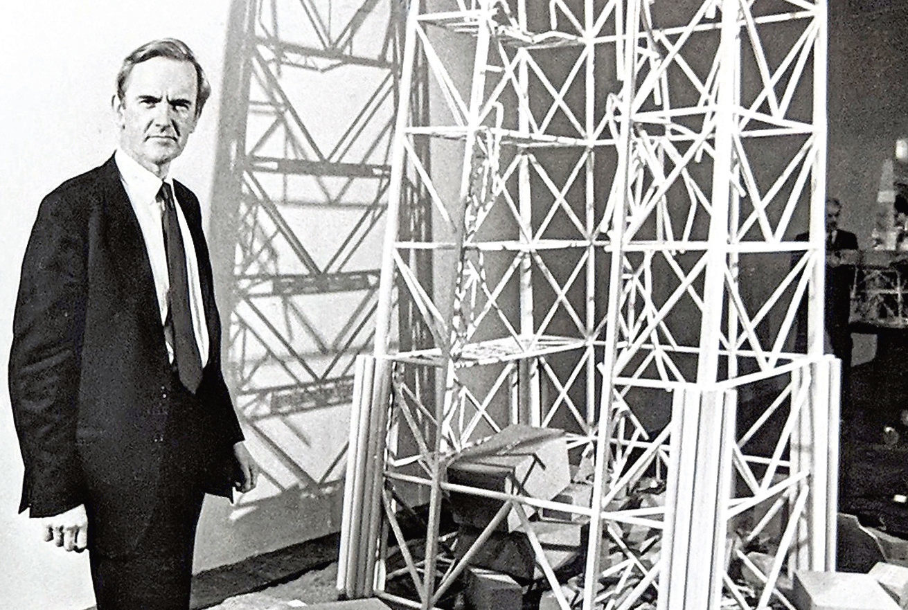 Lord Cullen pictured with a model of the wreckage of the Piper Alpha at the inquiry at Aberdeen Exhibition and Conference Centre in 1989.