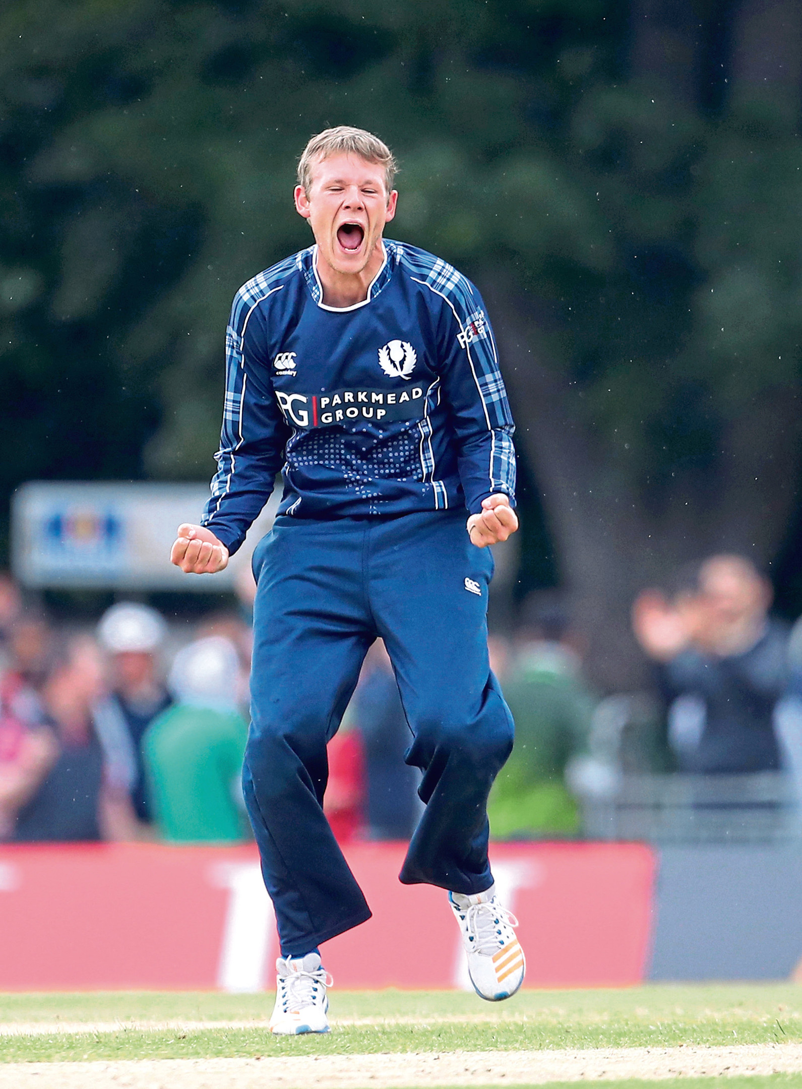 Scotland's Michael Leask celebrates after Pakistan's Asif Ali is caught out during the Second International T20 match at The Grange, Edinburgh. PRESS ASSOCIATION Photo. Picture date: Wednesday June 13, 2018. See PA story CRICKET Scotland. Photo credit should read: Jane Barlow/PA Wire