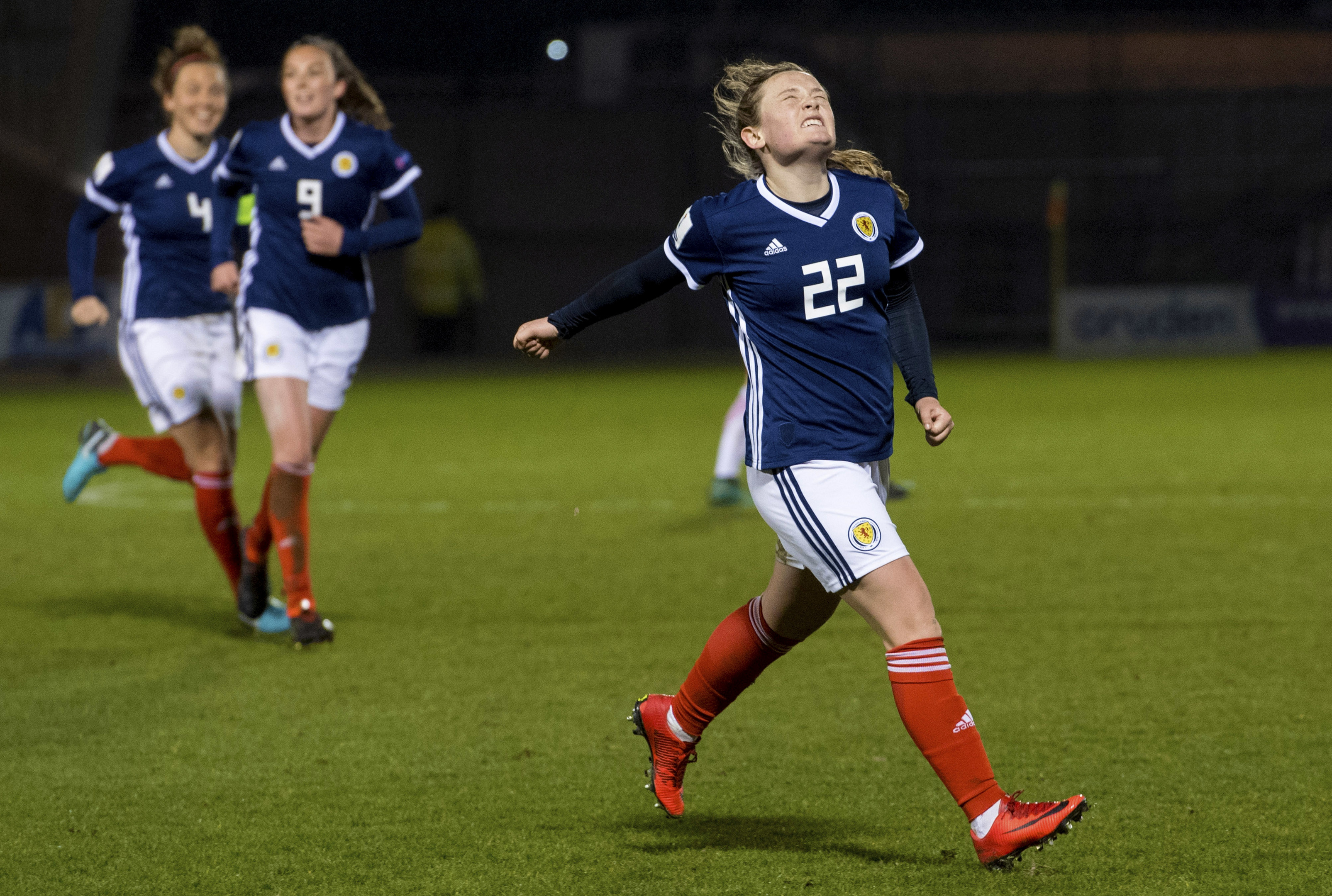 Erin Cuthbert struck twice to give Scotland victory.