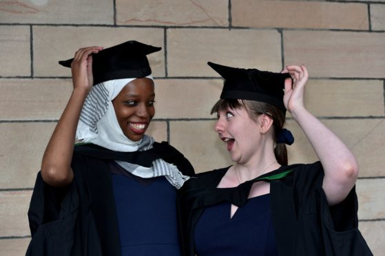 Aberdeen University Graduations - Friday morning. Halimatu Joji and Catherine Milton (Westhill and Aberdeen, respectively), BSc Immunology and Pharmacology (would like to be taken together)   ABDN/ABDNSHIRE   Picture by COLIN RENNIE    June 22, 2018.