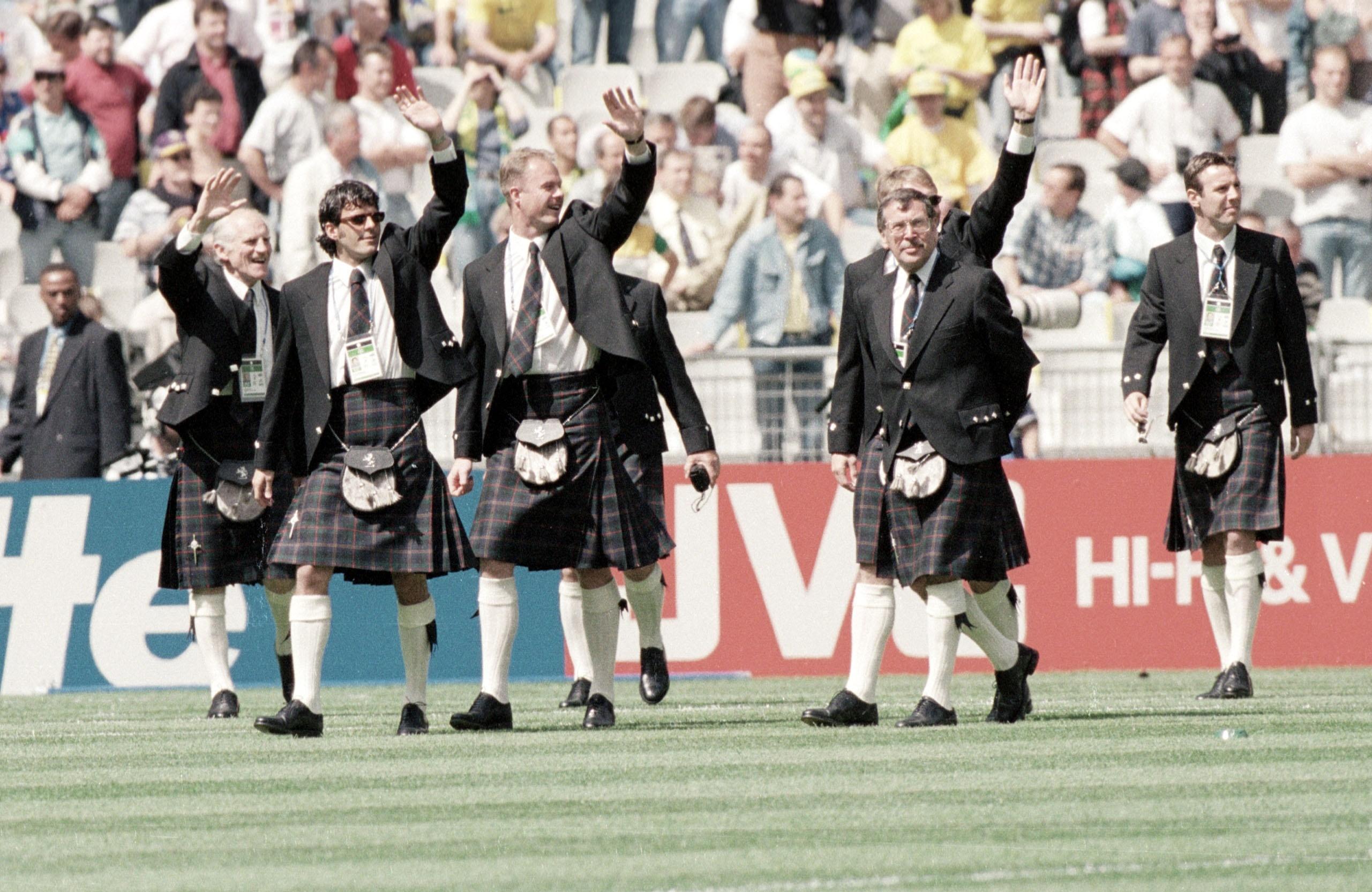 Scotland parade in their kilts prior to kick off.
