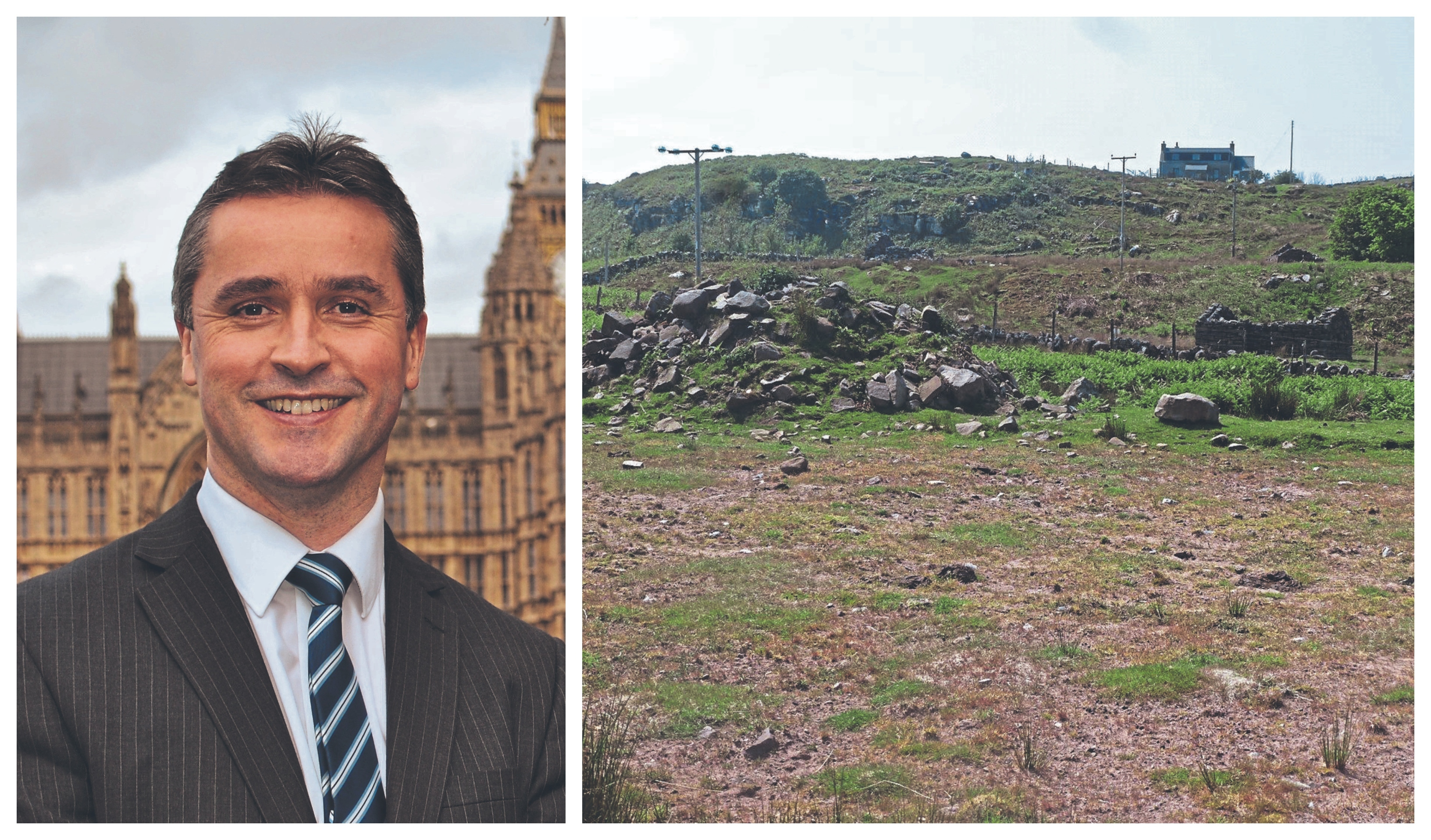 Western Isles MP Angus MacNeil, left, spoke out on Twitter about the cost of the building plot,  right