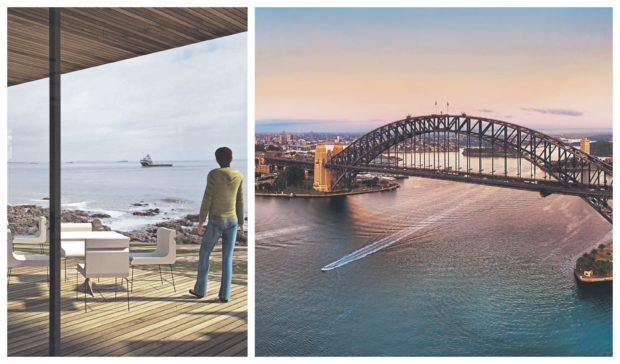 An artist's impression for a proposed building at the Greyhope Bay centre, left, and Sydney harbour, right