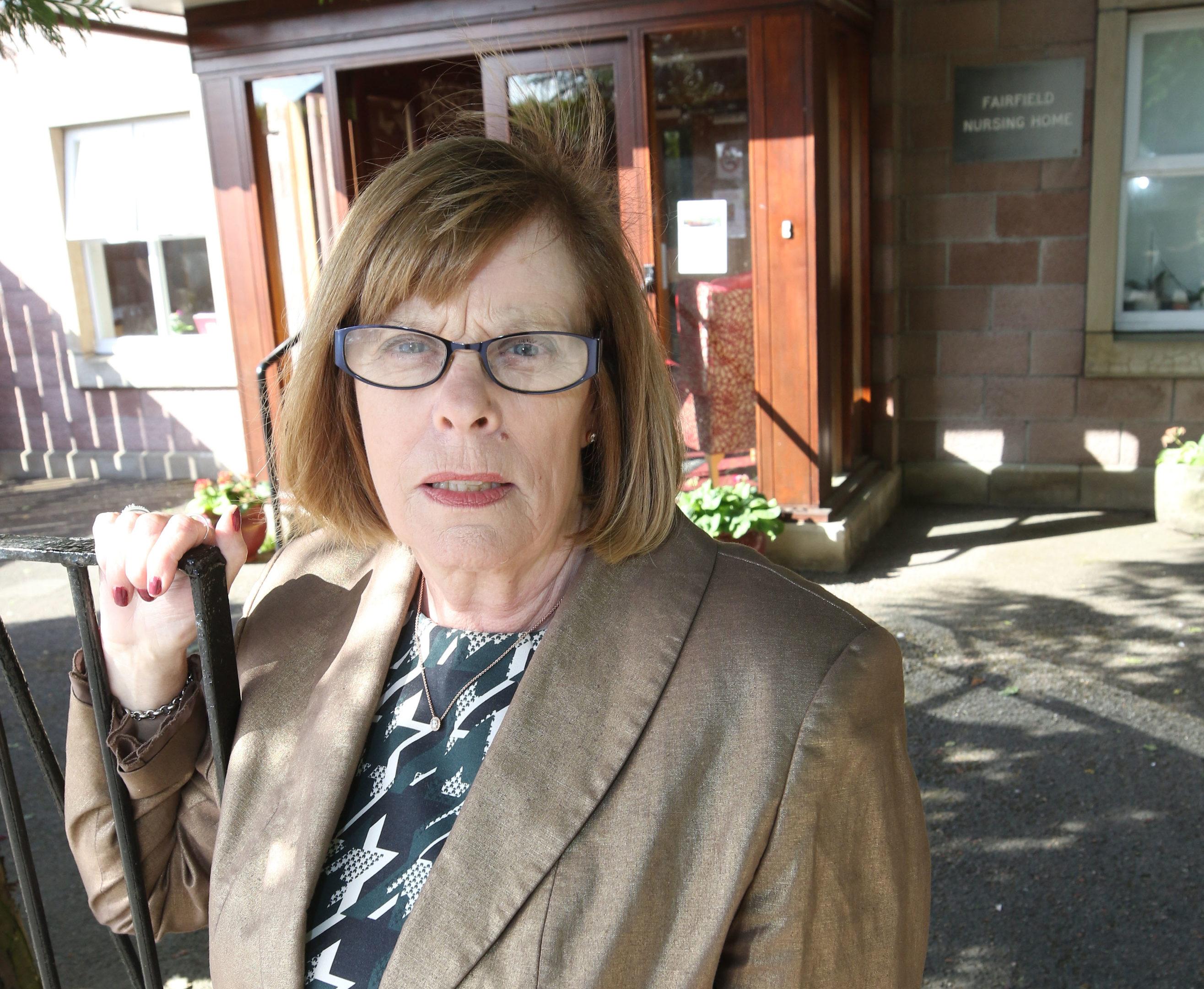 Councillor Bet McAllister outside Fairfield Nursing Home.