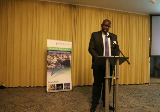 Egbert Faibille Jr speaking at the Aberdeen Grampaian Chamber of Commerce event