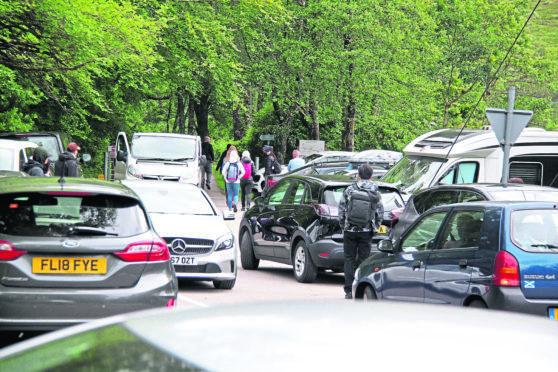 Cars parked at Glenfinnan