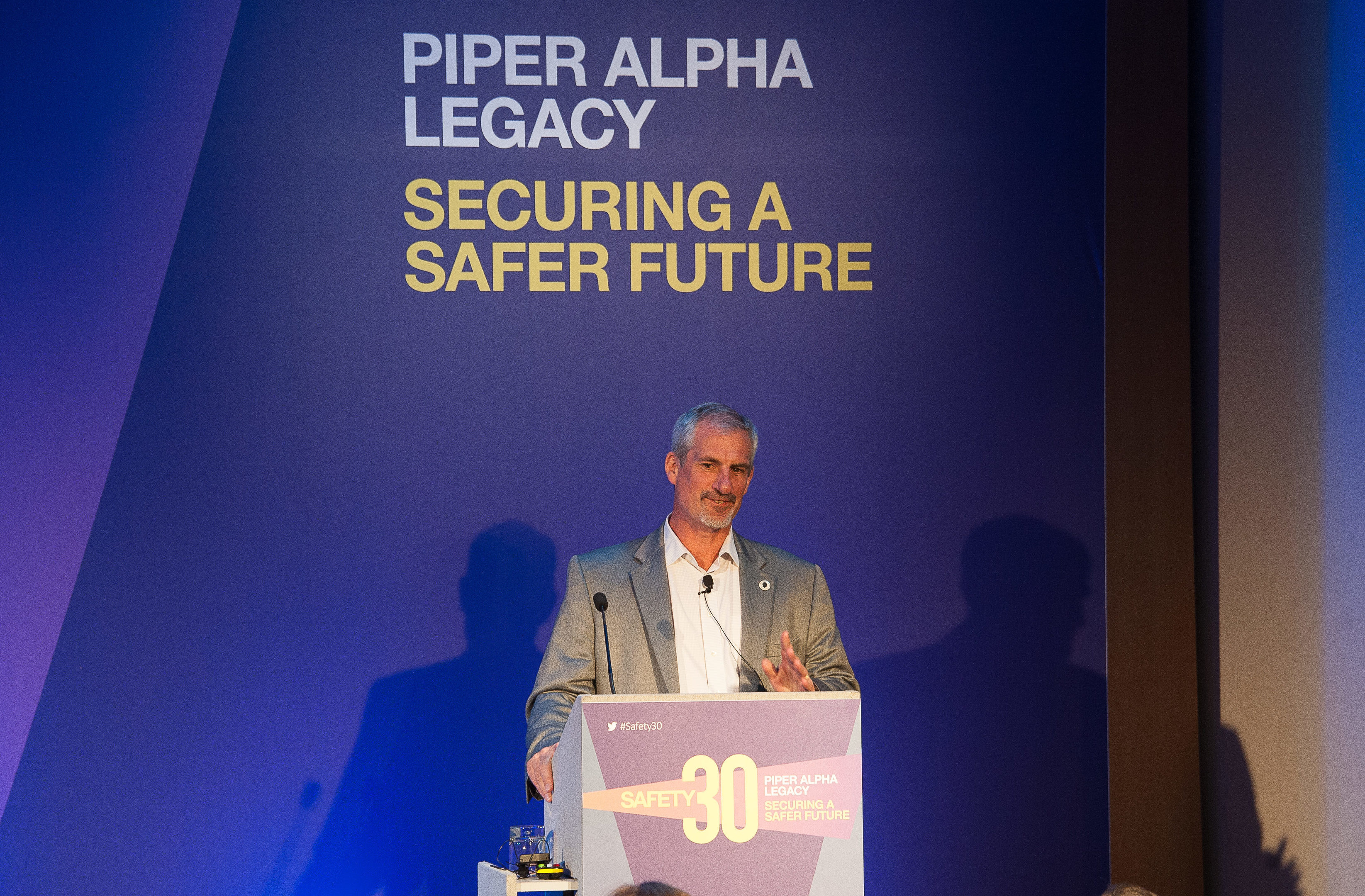 Steve Rae, operations manager of Well-Safe Solutions, speaking at the Safety 30 conference.