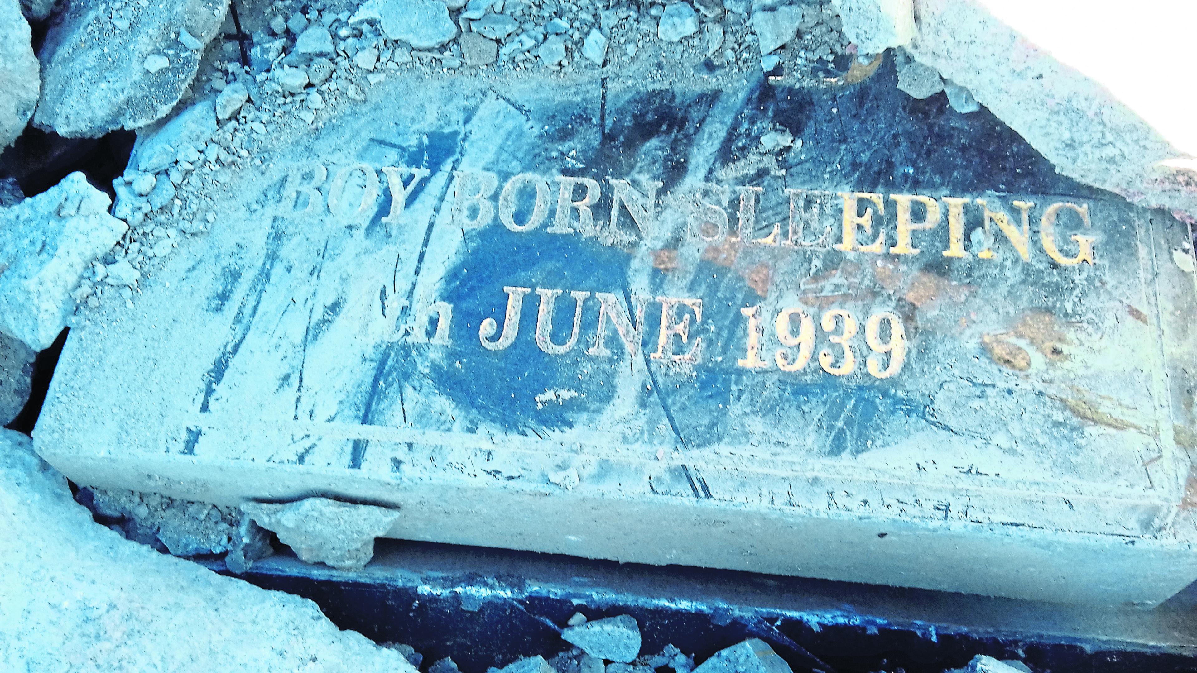Gravestones have been used as rubble at Peterhead Caravan Park.