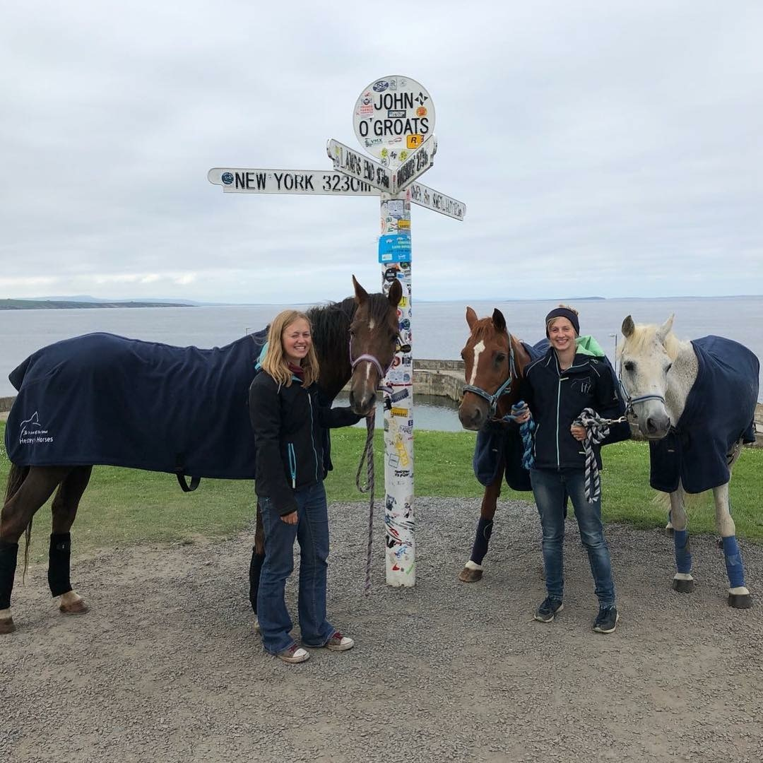 Lauren White, 26, and Meg White, 22, at John O'Groats
