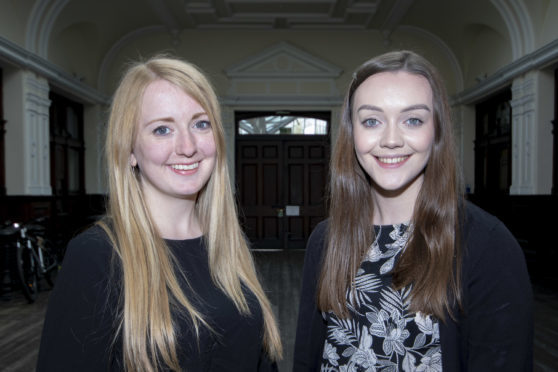 DYW Moray manager Sarah Baxter, left, with new recruit to the organisation Aimee Stephen, 17