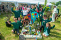 Pupils at Mill O' Forest school in Stonehaven with their winning pocket garden.