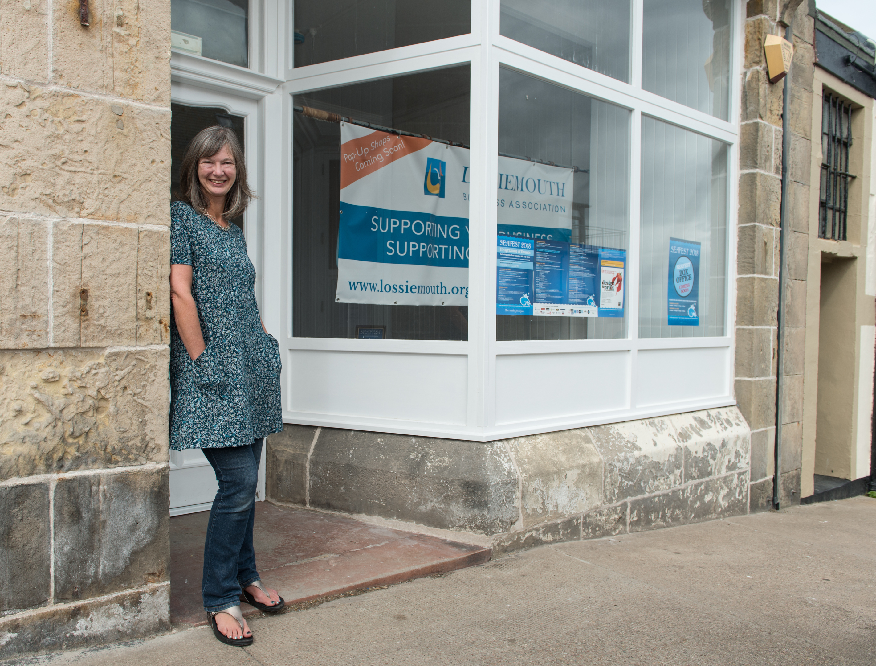 Caroline Hornby is pictured at her pop-up shop in Lossiemouth