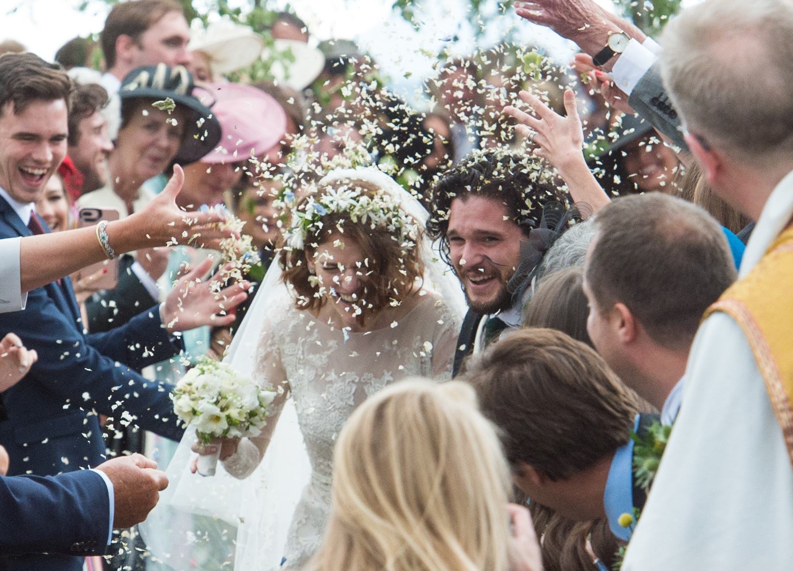 Rose Leslie and Kit Harington leave the church in Kirkton of Rayne (Picture by Jason Hedges)