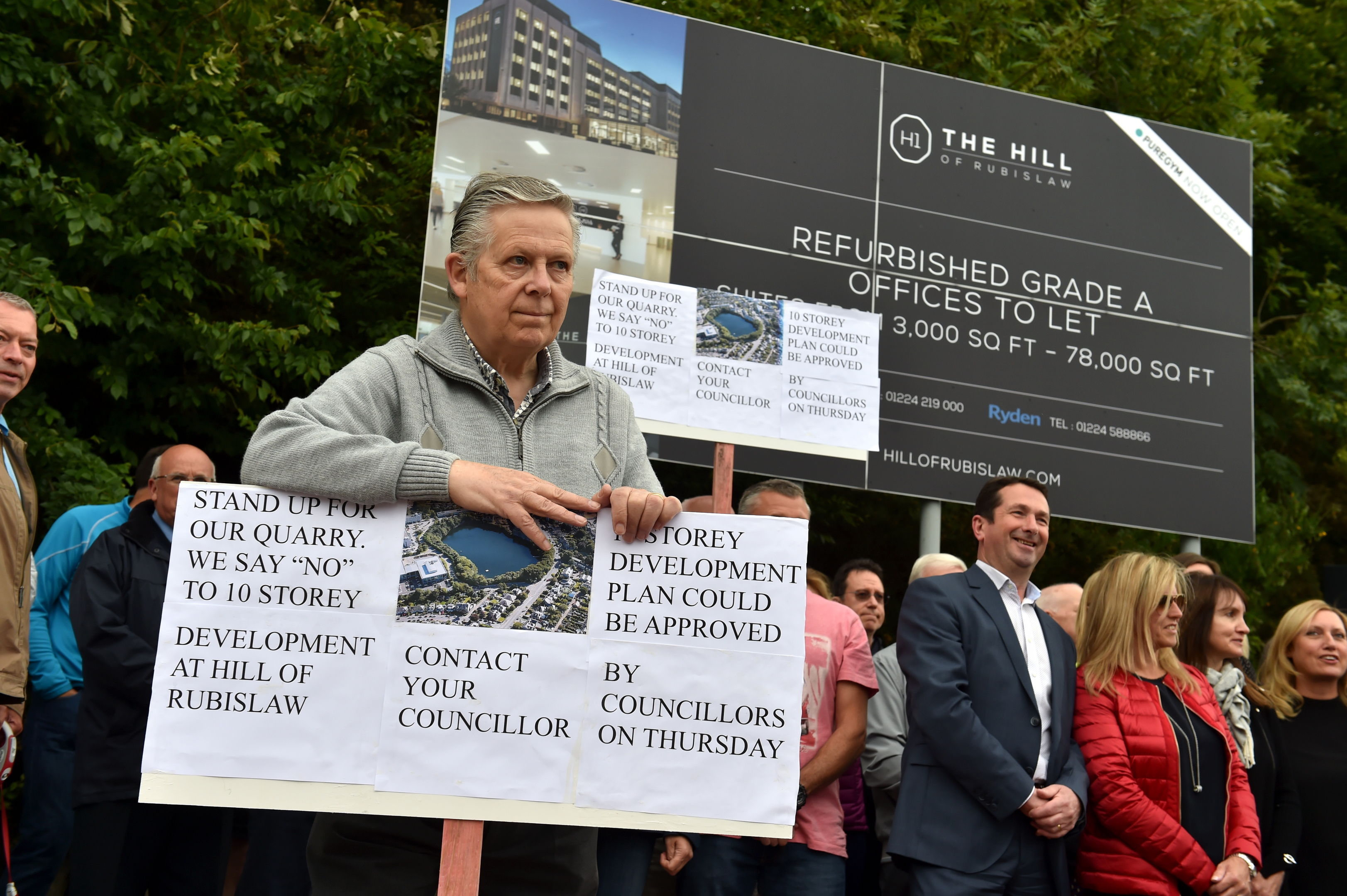 Public demonstration against the submitted plans by Carttera for 299 flats plus parking at Rubislaw Quarry