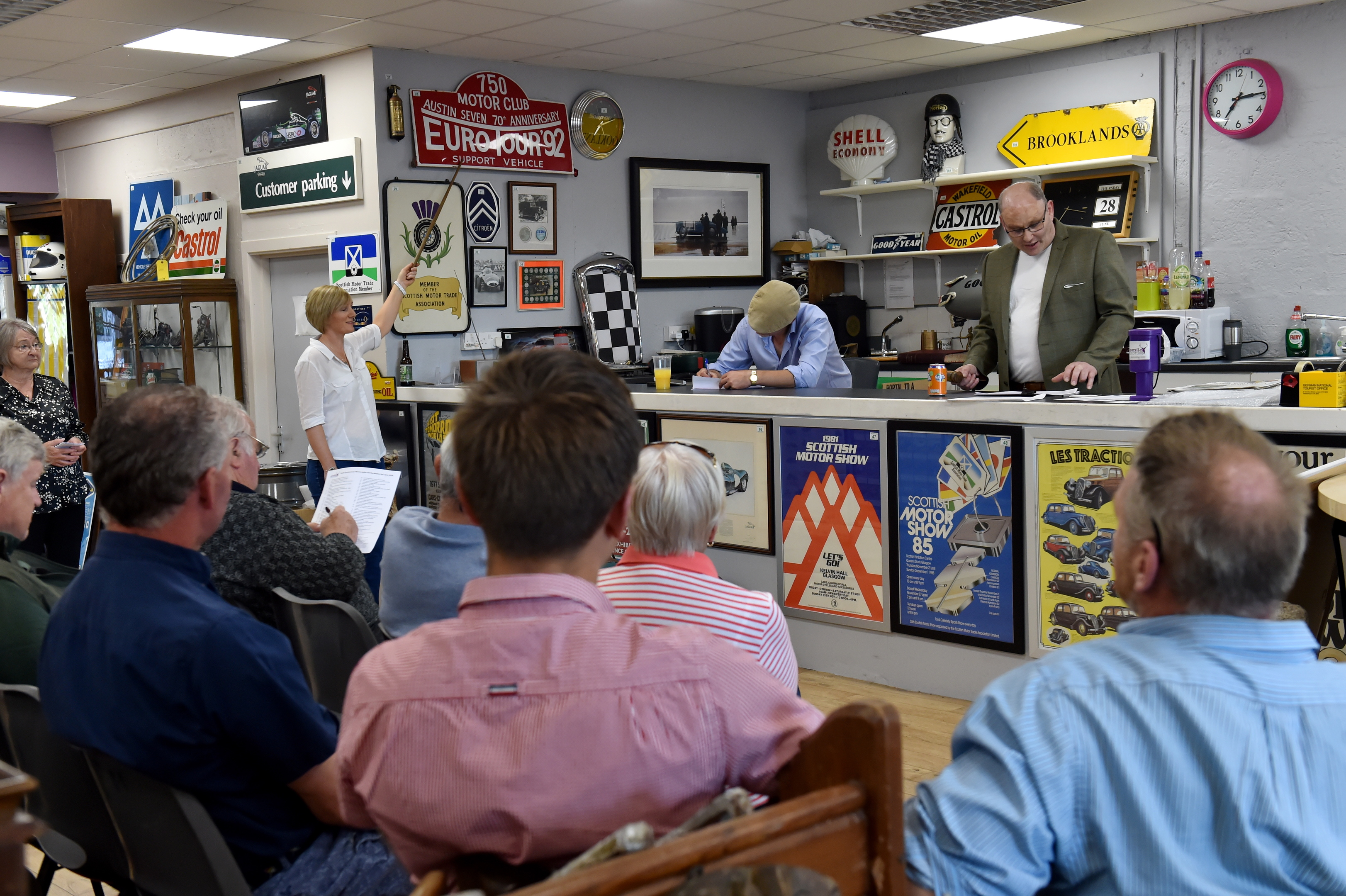 Cliff Hampshire auctioned off almost 200 items of automotive memorabilia for charity Smile Scotland. Picture by Kenny Elrick