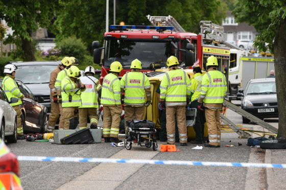 The scene on Summerhill Road today. Picture by Kenny Elrick.