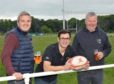 Iain Dougray of ESWL, RugBeer Fest 2018 organiser Michael MacLugash and Aberdeenshire RFC president Colin Bell. Picture by Jim Livingston.
