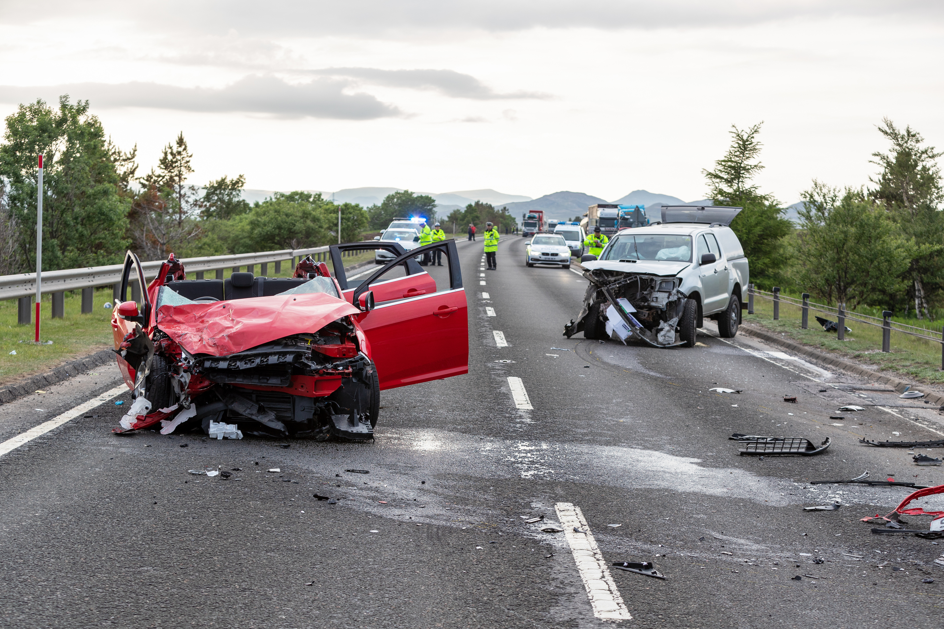The scene of the crash on the A9 on Friday.