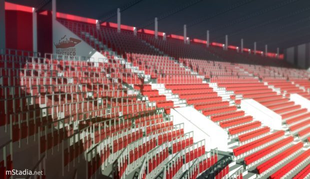 Stadium designer Mateusz Cegielski's impression of what safe standing sections at Aberdeen FC's Kingsford Stadium could look like.