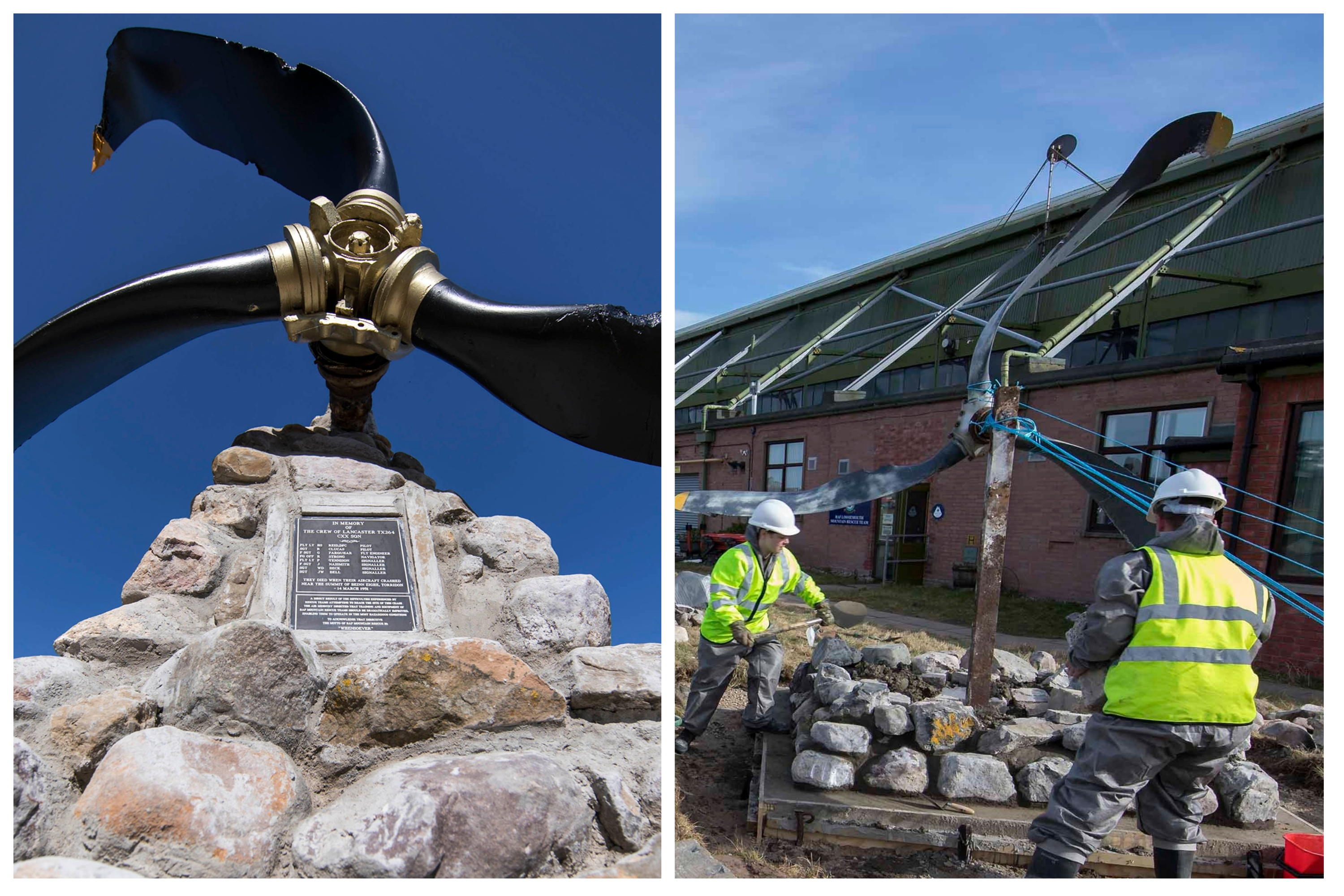 The memorial is dedicated to the eight RAF personnel who died in the tragic accident