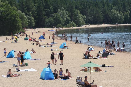 The beach at Loch Morlich, near Aviemore,