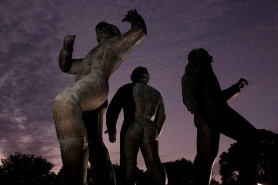 The Piper Alpha Memorial statue at Hazlehead Park, Aberdeen.