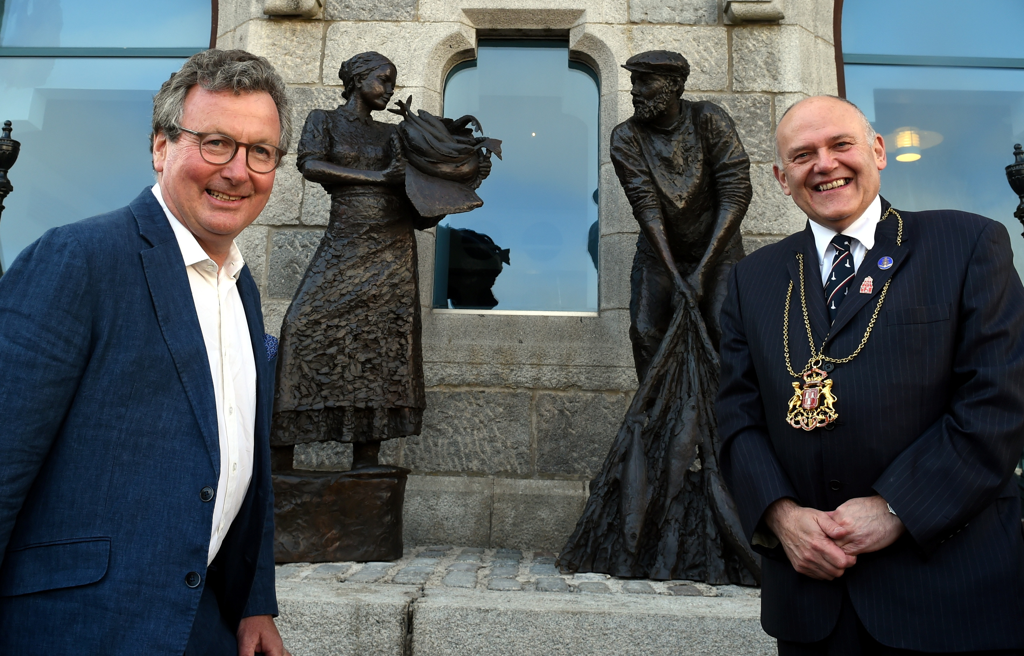 Sculptor David Williams-Ellis and Lord Provost Barney Crockett in front of Aberdeen's fishing memorial at the Maritime Museum. Picture by Jim Irvine