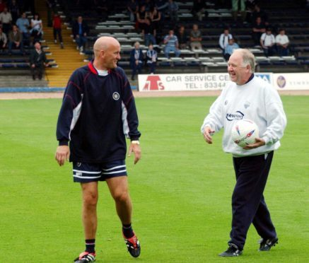 Craig Brown shares a laugh with Jim Duffy during a friendly between Dundee and Preston.