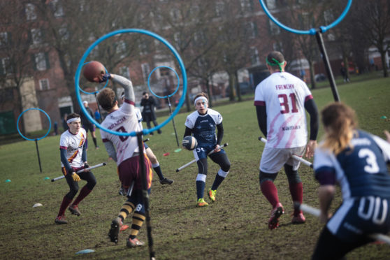 A London-based Quidditch team in action. (Photo by Jack Taylor/Getty Images)