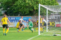 This is a photograph from the pre-season friendly Nairn V Inverness CT on Friday 6 July 2018 at Nairn County FC, Nairn. PICTURE CONTENT:-  Georhe Oakley no 10 ICT scores