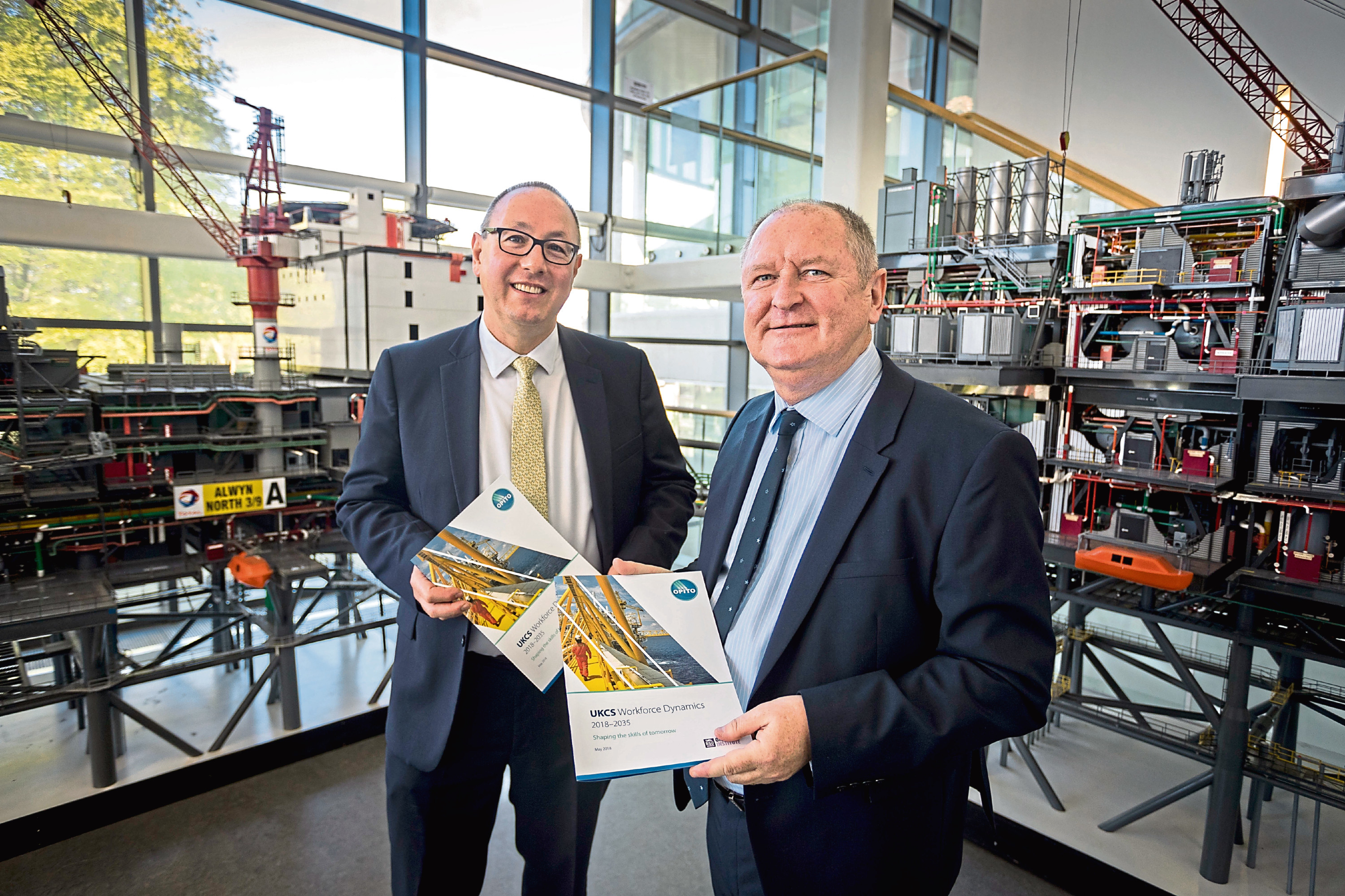 Paul de Leeuw, of the RGU Oil and Gas Institure, left, with John McDonald, of OPITO>