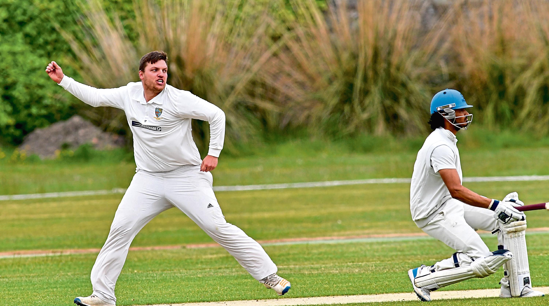 cricket ;  Aberdeenshire v Carlton at Mannofield.     Pictured - Shire's captain Chris Venske celebrates a wicket also pictured Carlton batsman Arun Pillai.      Picture by Kami Thomson    09-06-18