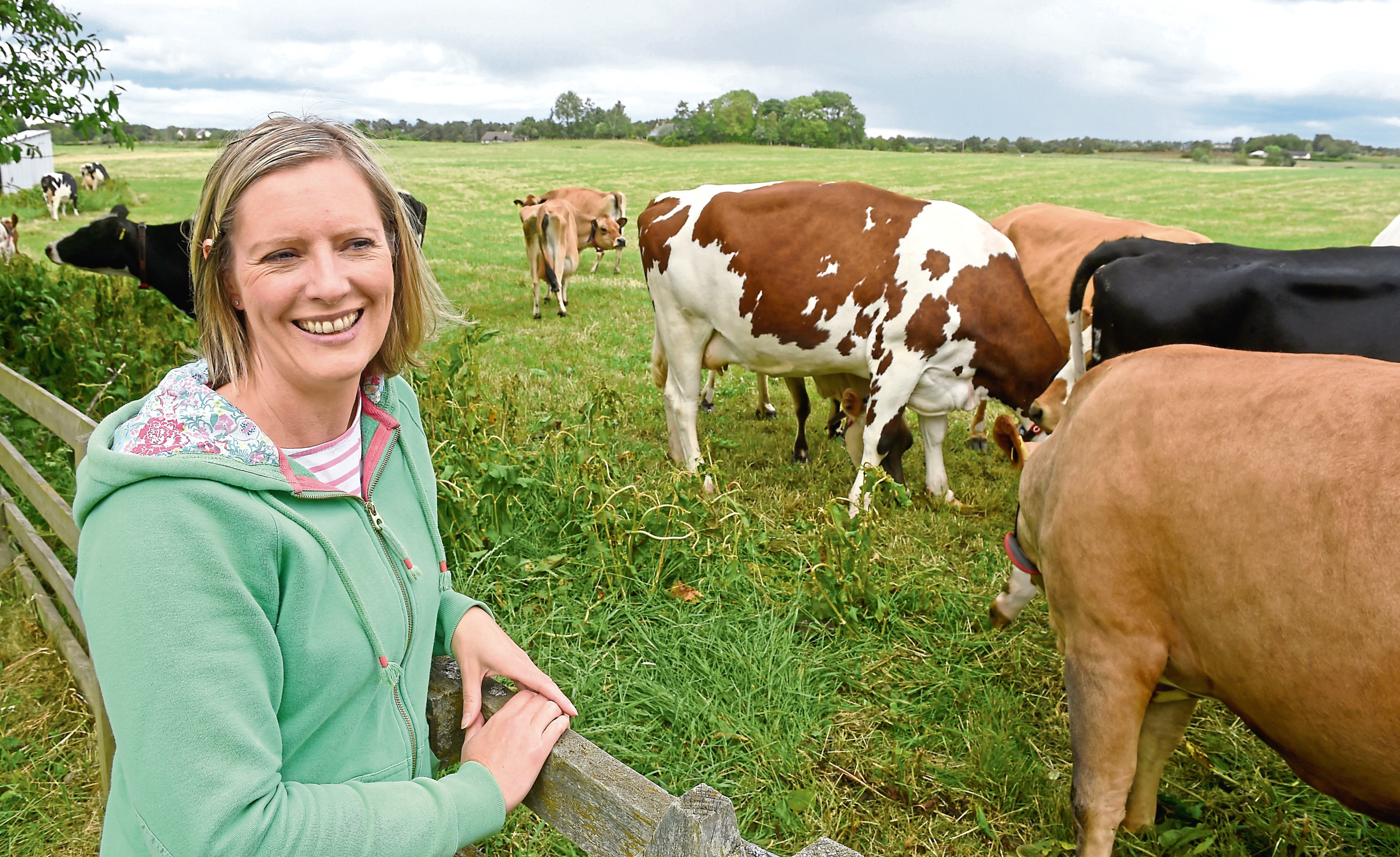 Jo with some of the cattle at Rootfield.