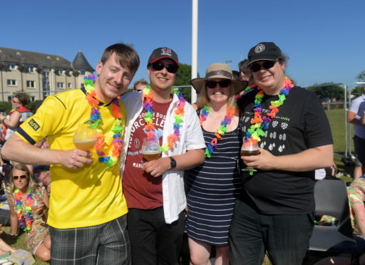 Stonehaven Beer Happening. From left, Steven Cross, Ian McCulloch, Lisa Pollok and Andrew Pollok. 30/06/18. Picture by KATH FLANNERY