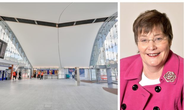 The new Dundee Station and Dame Anne Begg.