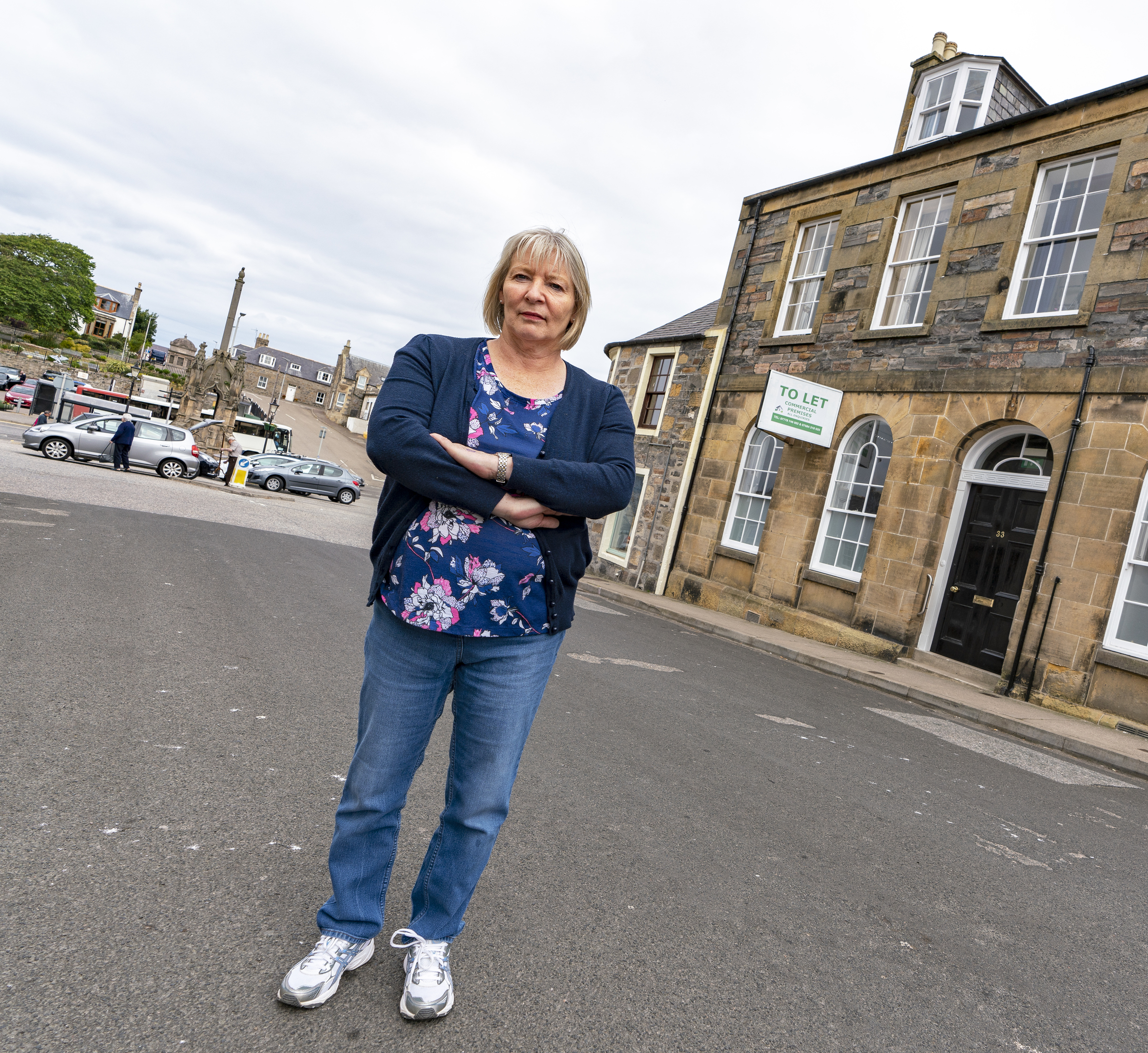 This is Clr Theresa Coull of Keith and Cullen Ditrict outside the now closed Bank of Scotland in Grant Street, Cullen, Moray on Monday 9 July 2018. They are to start a new campaign to bring an ATM to the town. Photographed by Brian Smith T/A Jasperimage. ©
