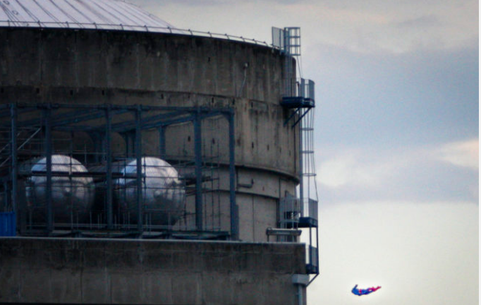 The environmental activist group says the drone was harmless but the action showed the lack of security in nuclear installations in France, which is heavily dependent on atomic power. (Nicolas Chauveau/Greenpeace via AP)