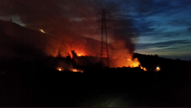 Picture of the wildfire taken by Balintore Fire Crews.