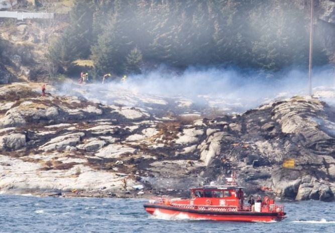 The site where a Super Puma helicopter crashed in Norway in April 2016.