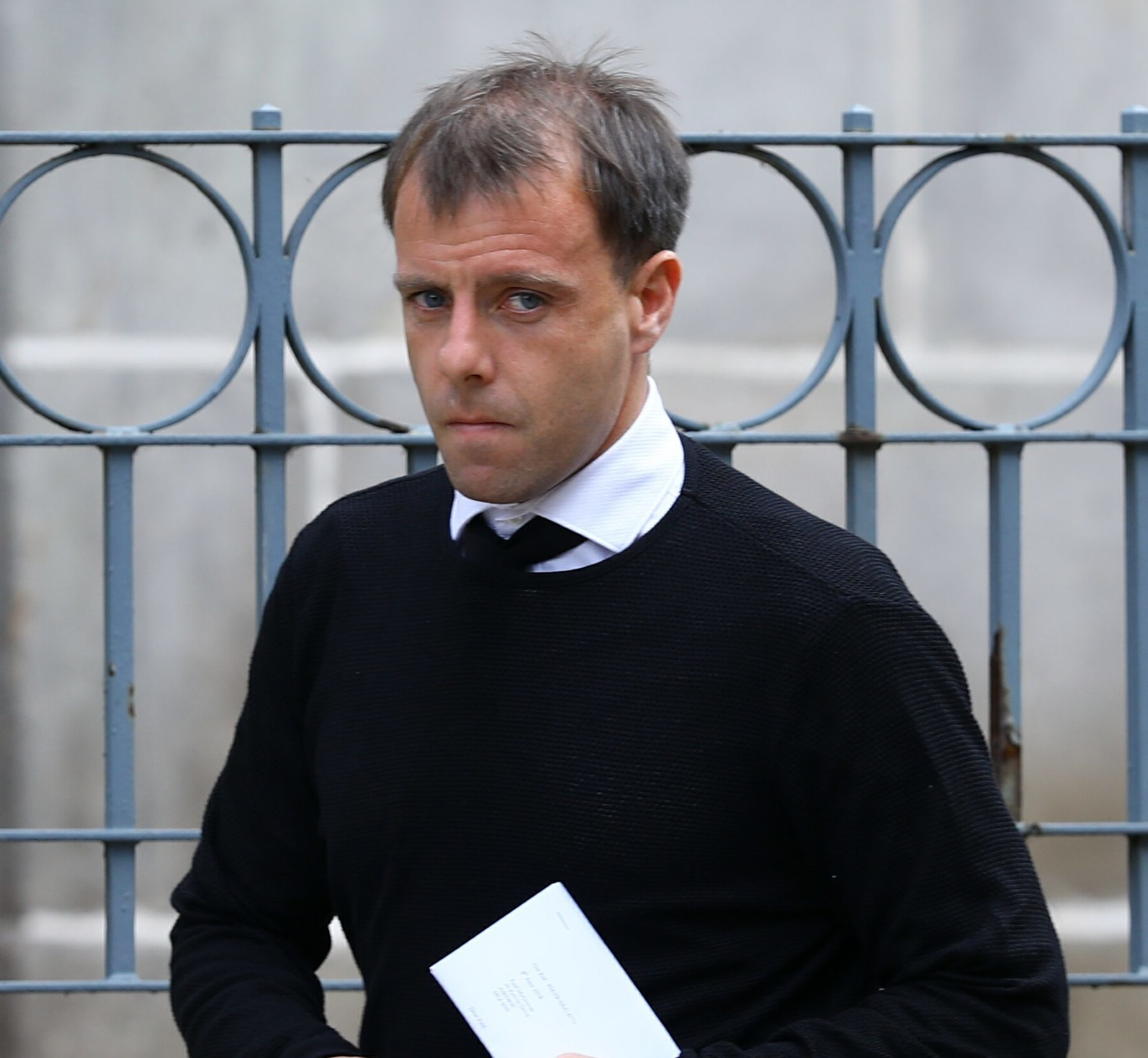 Dundee FC player Paul McGowan arriving at Dundee Sheriff Court today for sentencing
