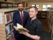 Councillor John Wheeler and Aberdeen Central Library's Dallas King reading a copy of A Window In Thrums. Picture by Kath Flannery