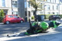 The motorcycle involved in the accident this morning.