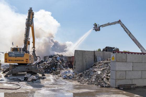 Scene of the fire within the premises of J Gordon Williamson in Moycroft Industrial Estate, Elgin.
